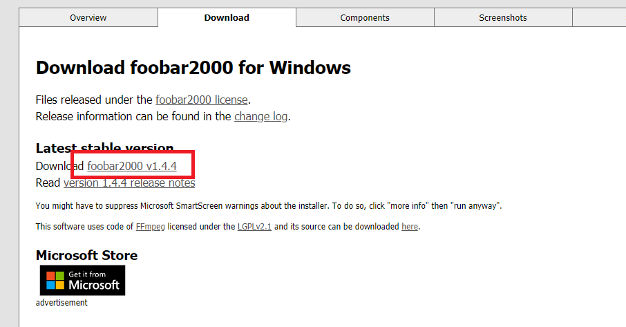 foobar2000のダウンロード方法