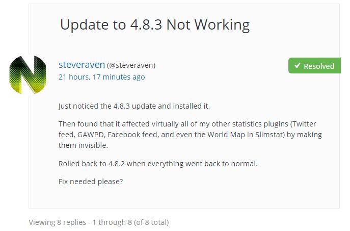 Slimstat 4.8.3が正しく動作しない